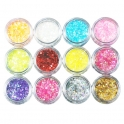 12 colors glitter nail art kit circles/hexagons 1-2mm