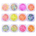 Neon glitter circles / confetti 2-5mm 12 color kit