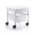Work stool on wheels with storage box