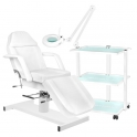 Treatment bed MENT +  trolley GIOVANNI + magnification / work lamp