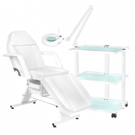 Treatment bed RELAX +  trolley GIOVANNI + magnification / work lamp