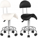 Saddle stool white / black with backrest