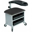 Work stool on wheels with storage boxes and mini table