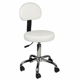 Working stool white / black / gray with backrest