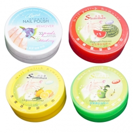 Acetone free nail polish remover pads