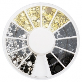 Gold, silver, black rhinestones mix
